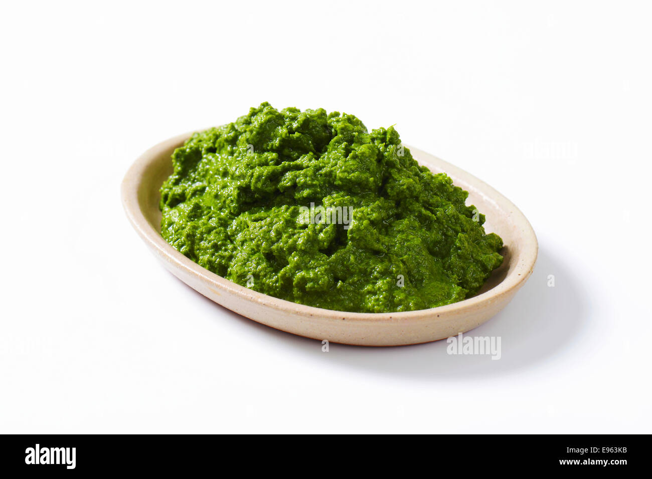 Plate of homemade spinach puree - Stock Image