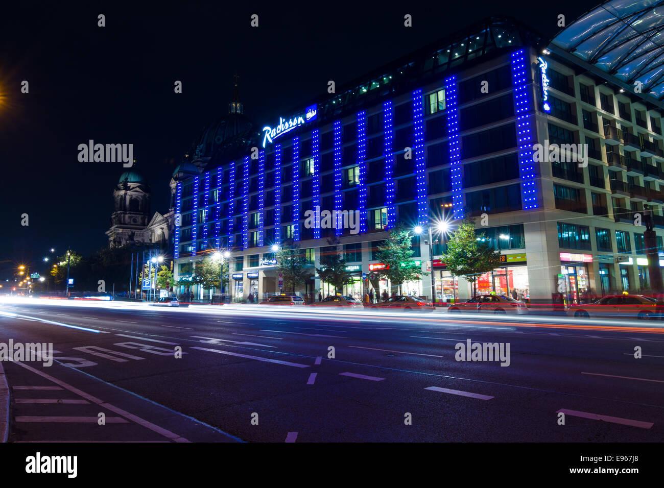 The five-star Radisson Blu hotel in the original illumination. The annual Festival of Lights 2014 - Stock Image
