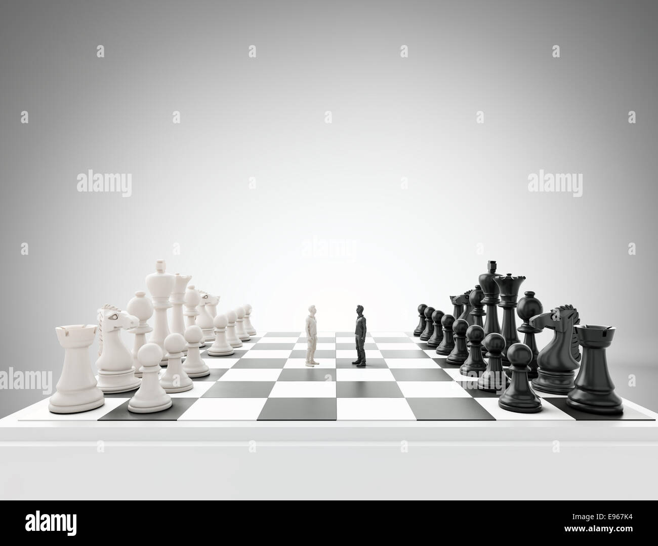 Two tiny figures standing on a chess board - conflict and competition concept illustration Stock Photo