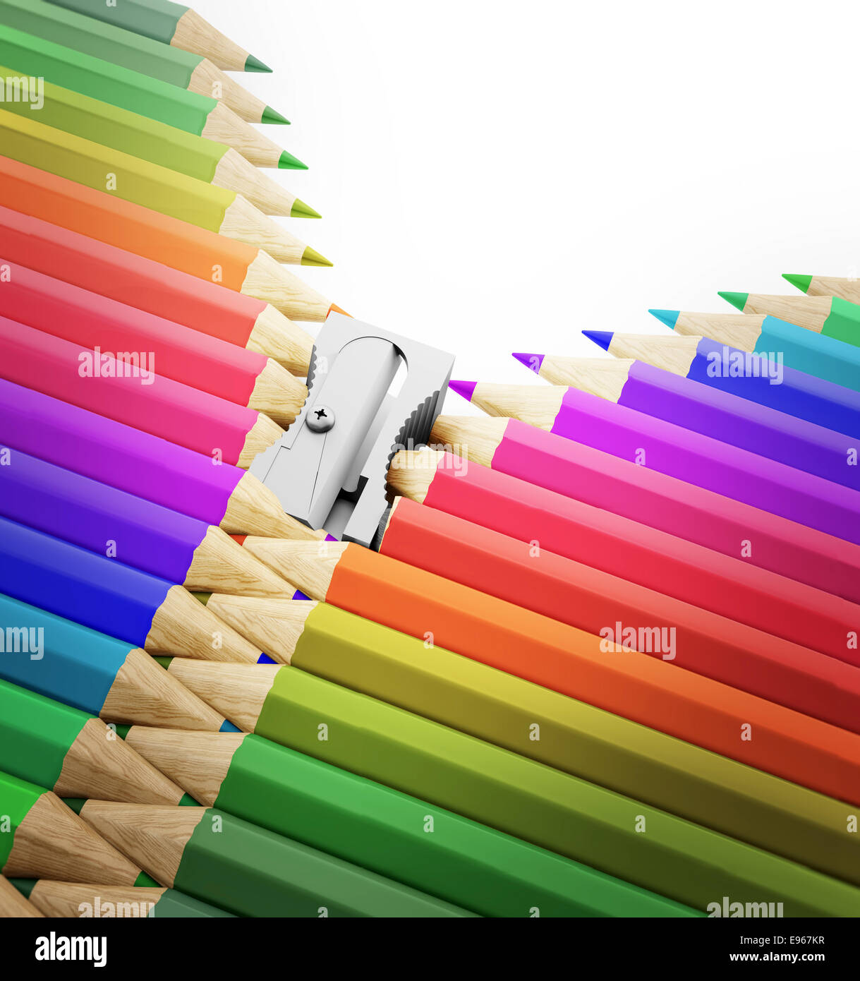 A row of pencils and sharpener forming a zipper - arts, creativity and school illustration Stock Photo