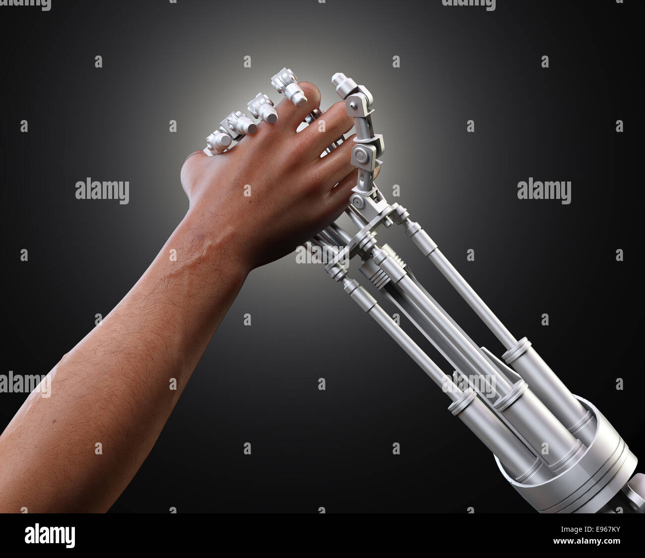Man and a robot holding hands or arm wrestling - machine vs human - Stock Image