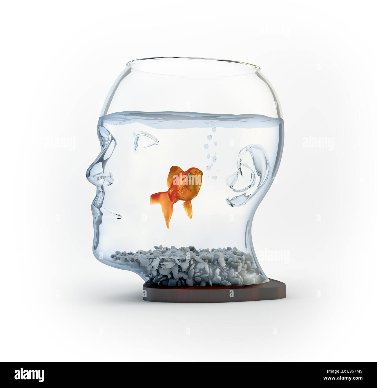 A fish bowl shaped like a head - Stock Image