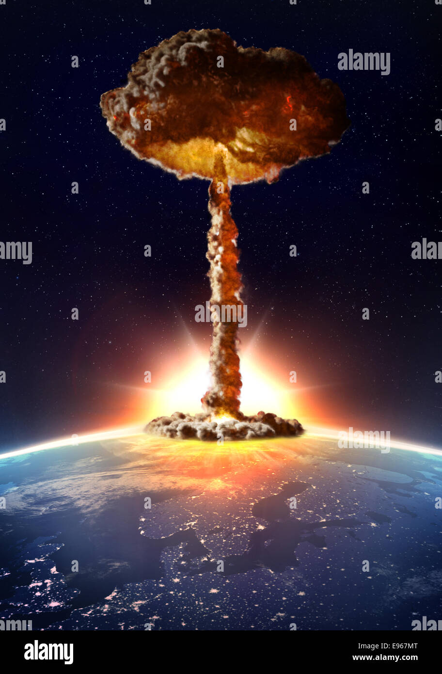 Detonation of a nuclear bomb with a mushroom cloud - Stock Image