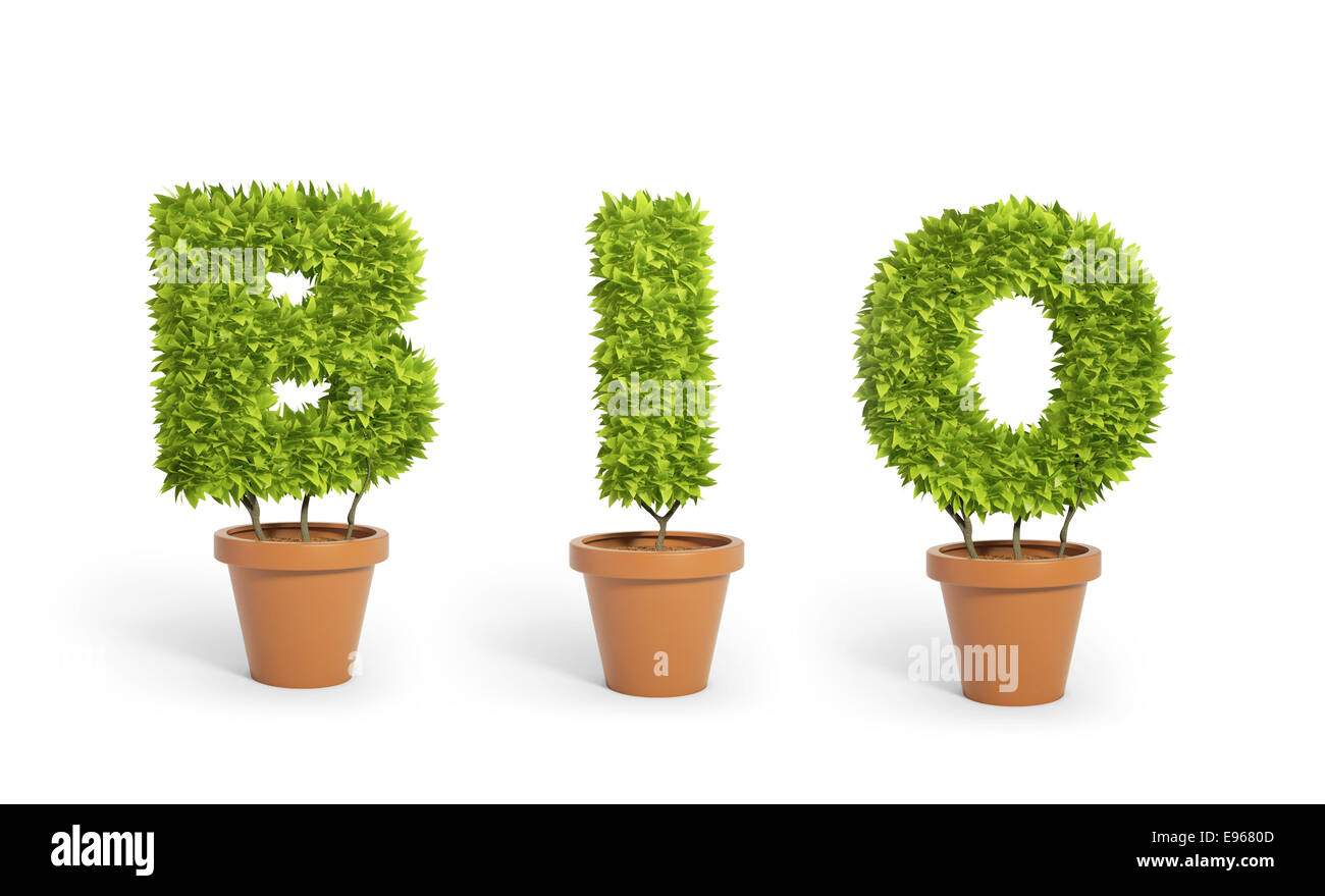 Three potted plants forming the word 'bio' - Stock Image
