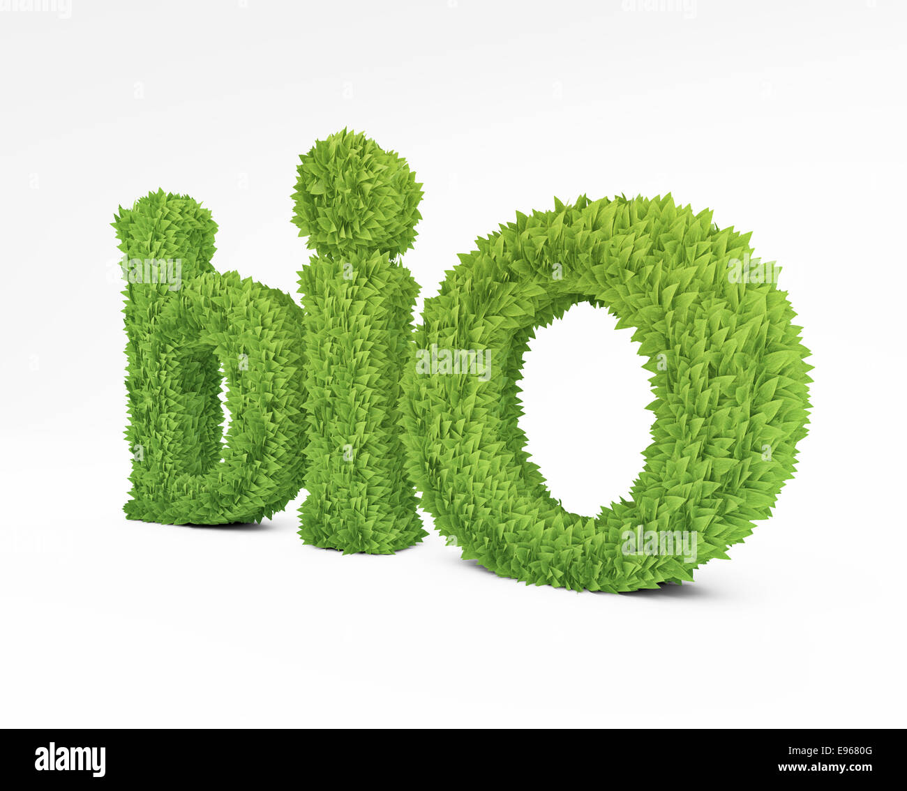 The word 'bio' formed out of green leafs - Stock Image