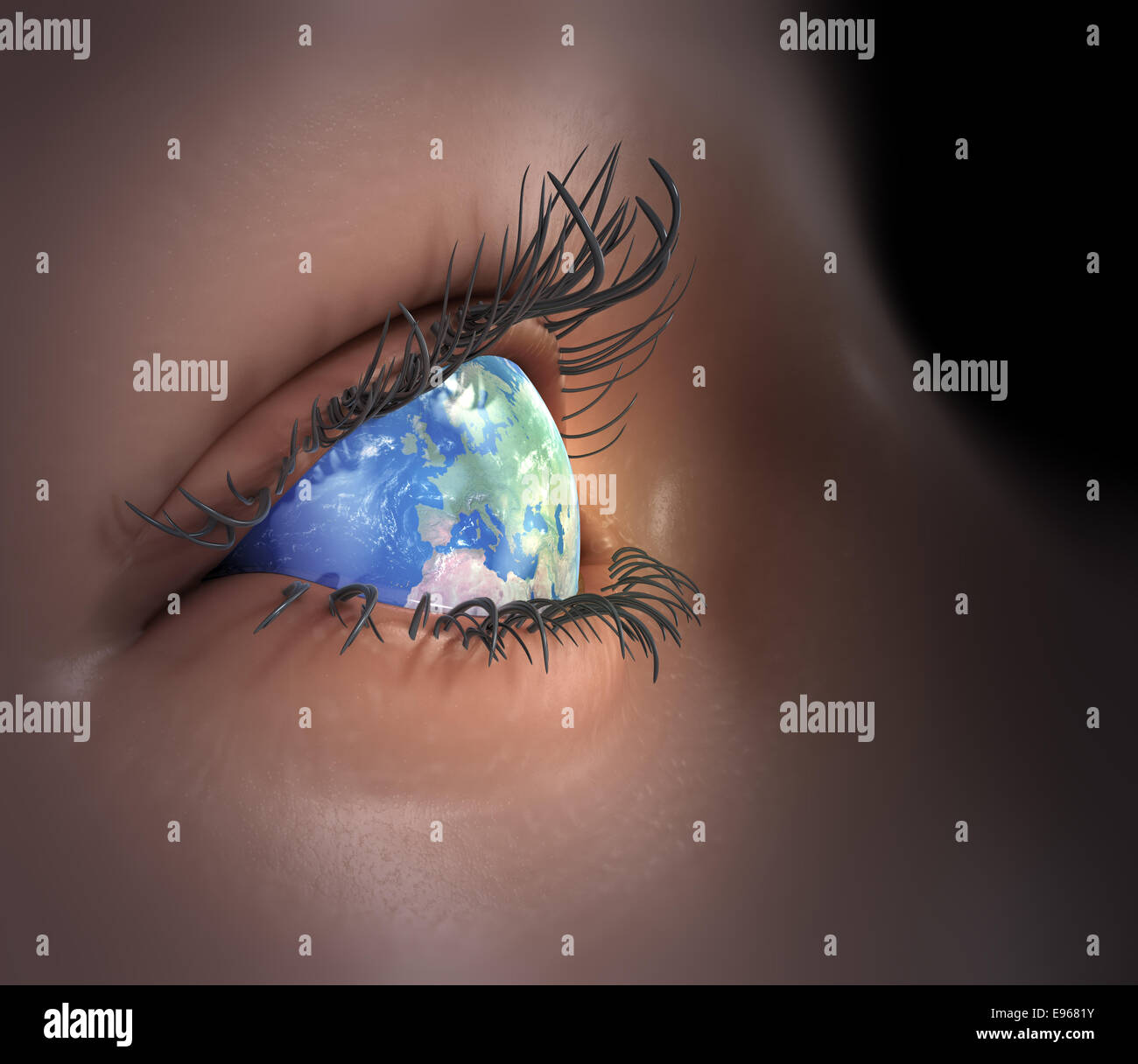 Earth as an eye - global vision - Stock Image