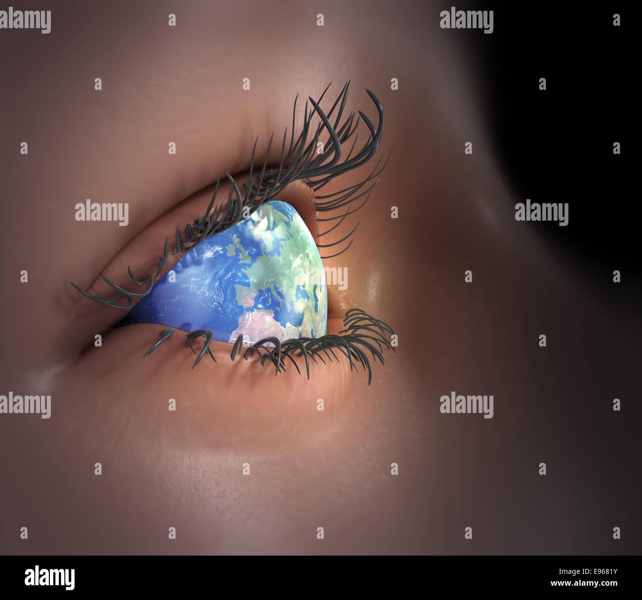 Earth as an eye - global vision Stock Photo