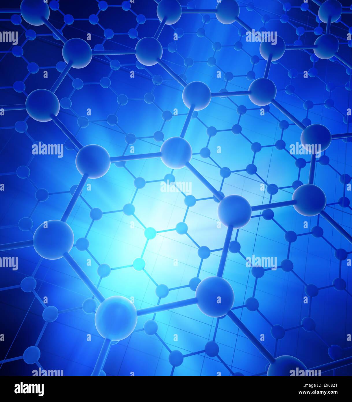 Graphene atomic structure - nanotechnology background illustration - Stock Image