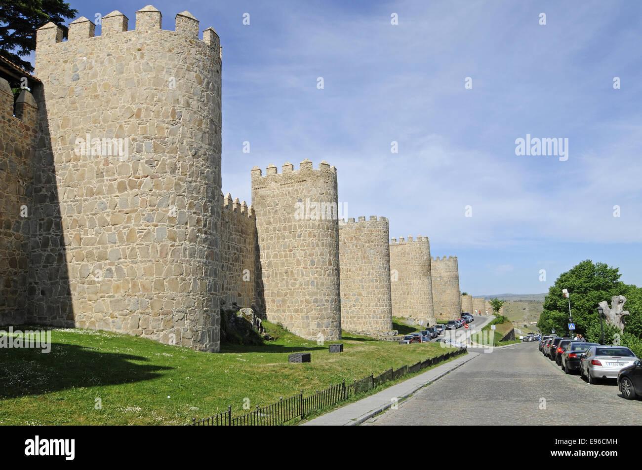 city walls, Avila, Castile-Leon, Spain - Stock Image