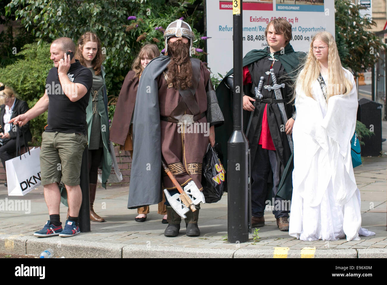 Comic Con Manchester fantasy fans in fancy dress - Stock Image