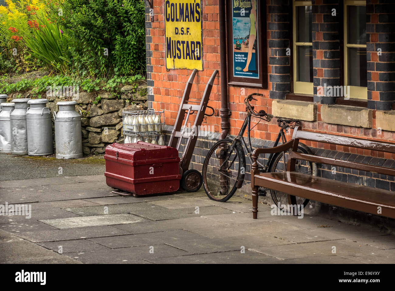 An Old Vintage Railway Station Platform For Enthusiasts At Llangollen Wales