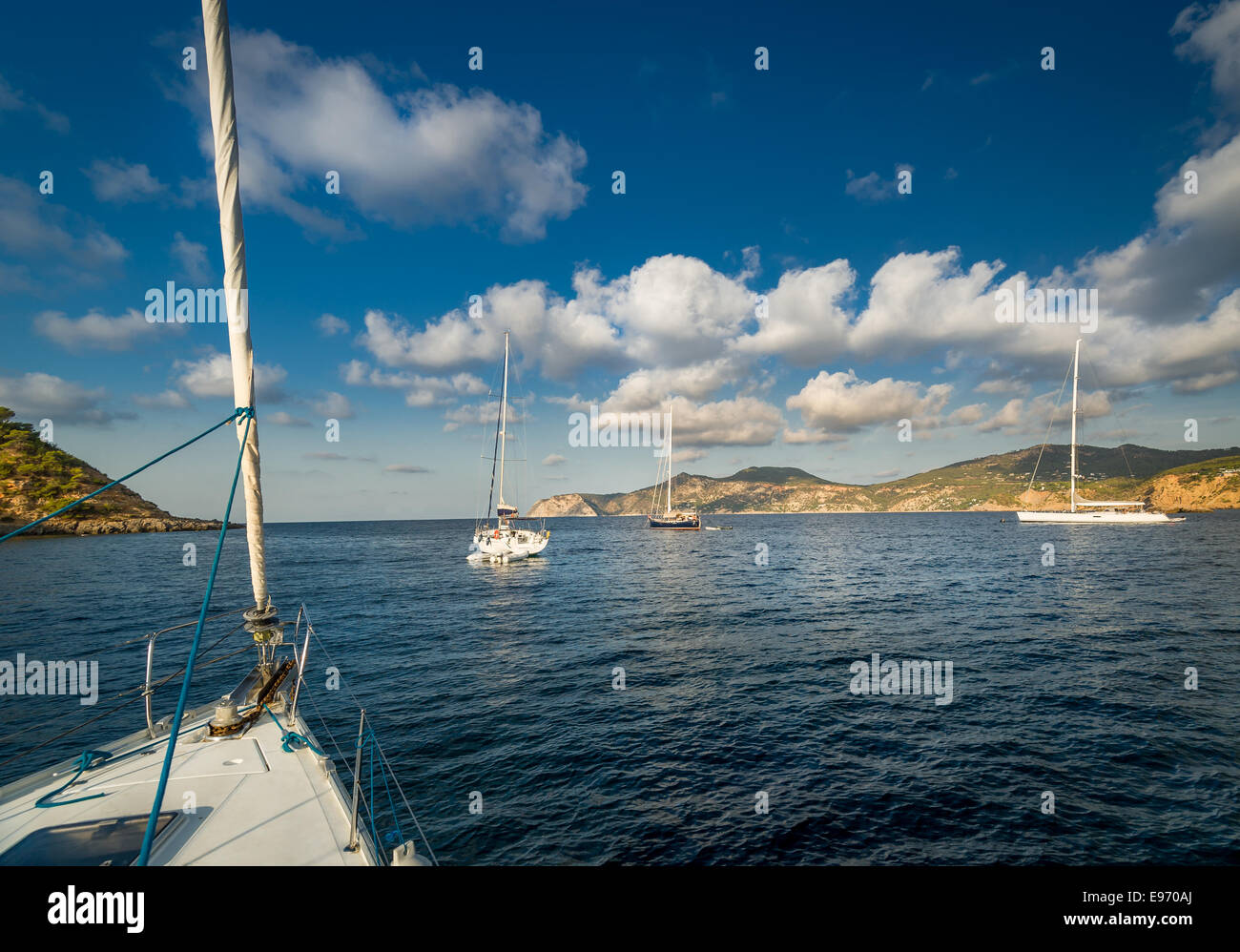 Sailing yachts anchorage - Stock Image