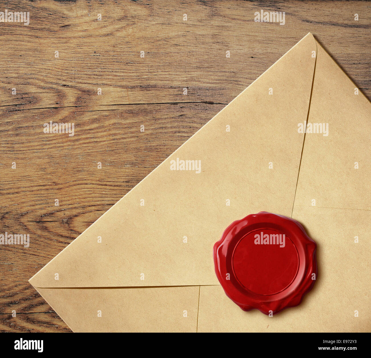 Old letter envelope with wax seal isolated - Stock Image