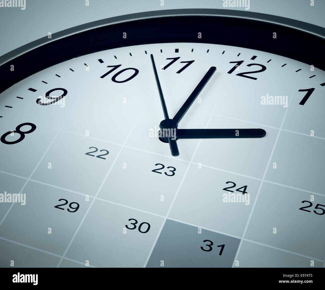 Calendar and clock face. Time manager and agenda concept. - Stock Image