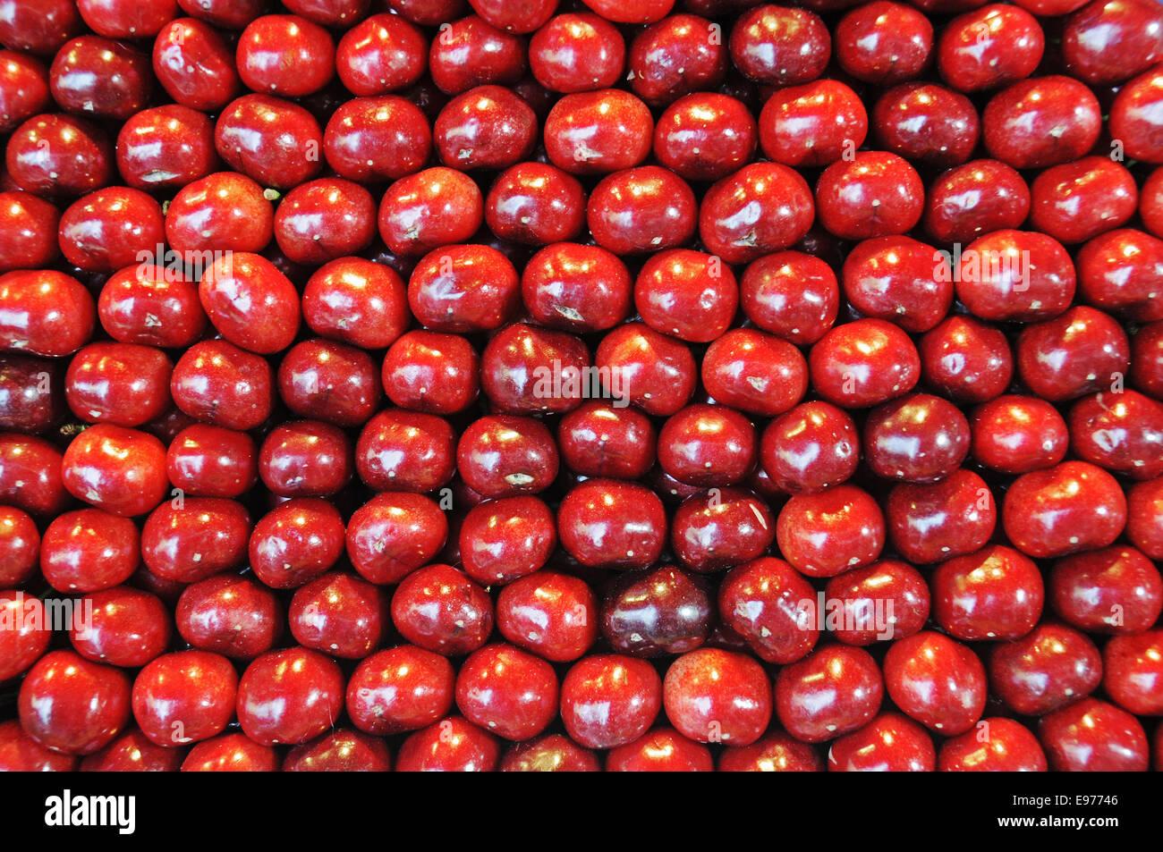 Sweet cherries, Prunus avium, Spain Stock Photo