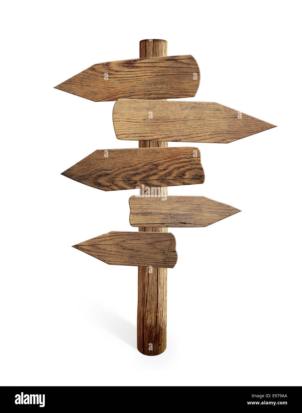 Old wood road sign arrows isolated - Stock Image