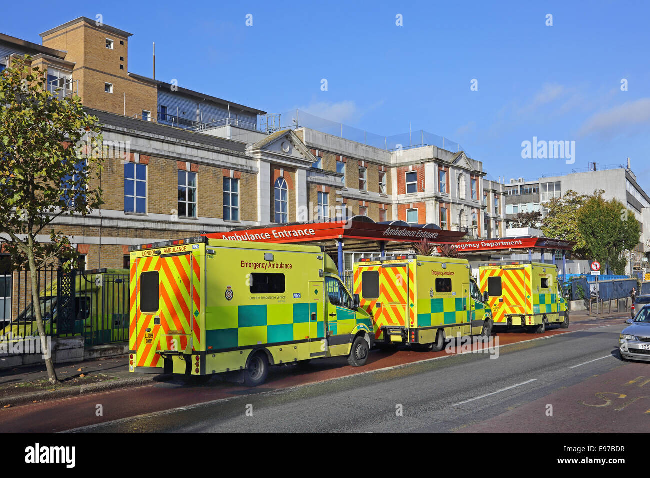 Ambulances lined up outside London's Kings College Hospital Accident and Emergency department, Denmark Hill, - Stock Image