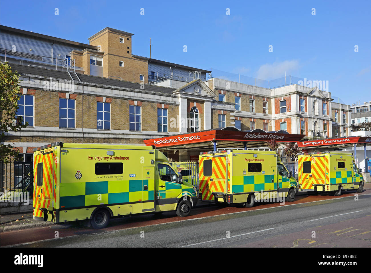Ambulances lined up outside London's Kings College Hospital Accident and Emergency department on Denmark Hill. - Stock Image