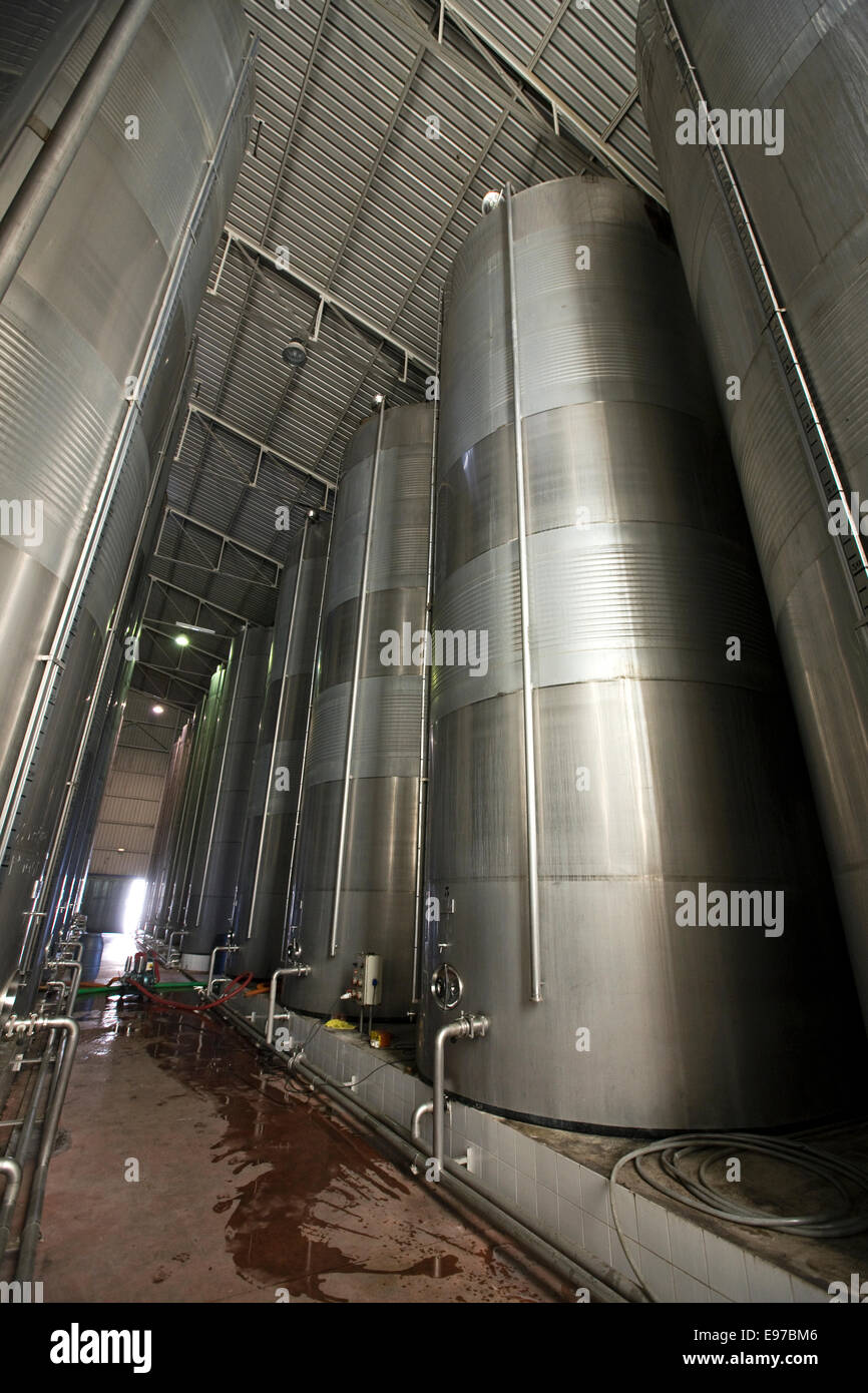 Sherry wine storage in new stainless steel barrels - Stock Image