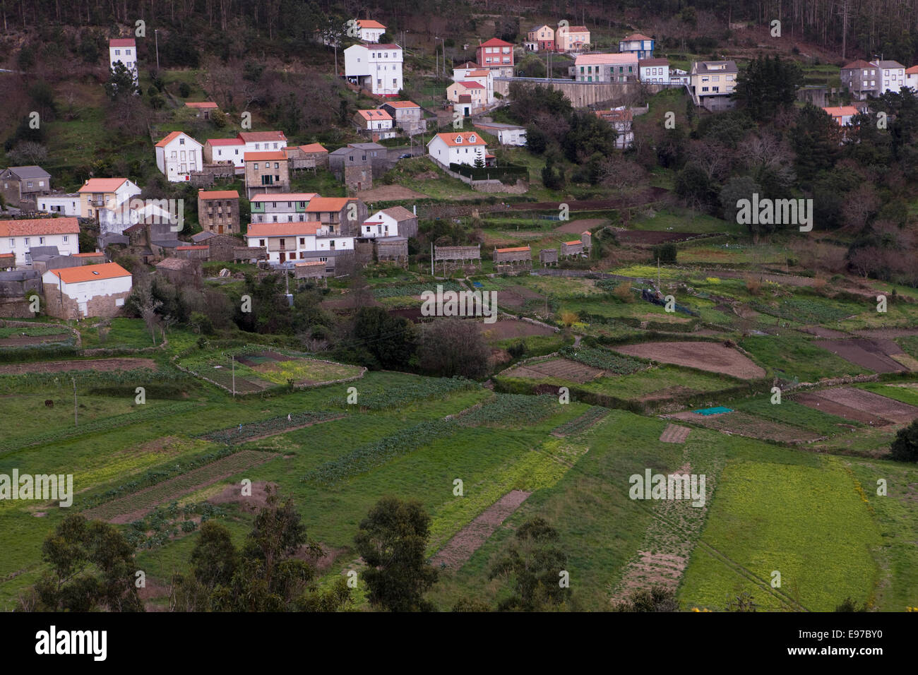 Small village in Galicia - Stock Image