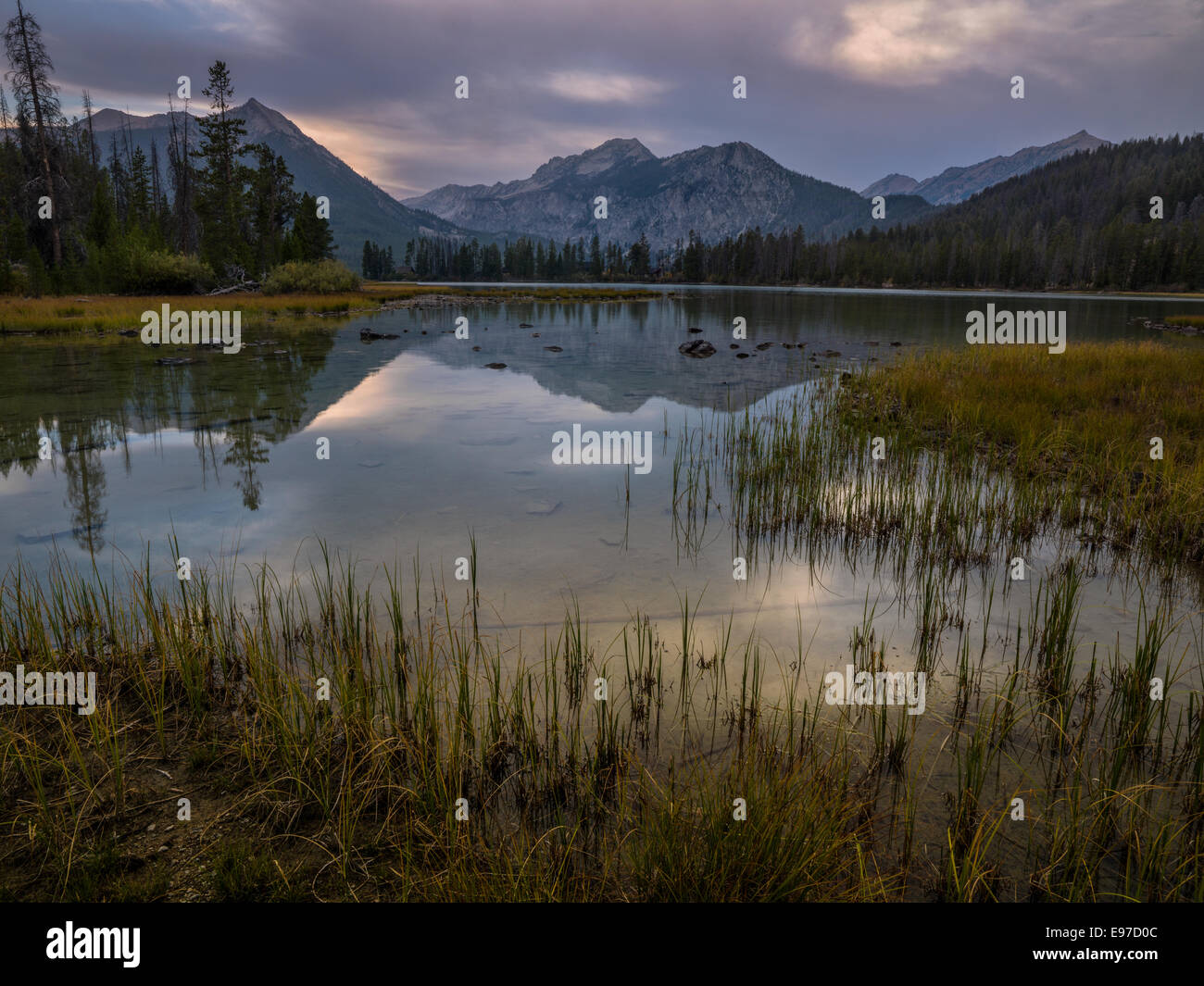 Cloulds over Petit Lake in the Sawtooth Wilderness of Central Idaho. - Stock Image