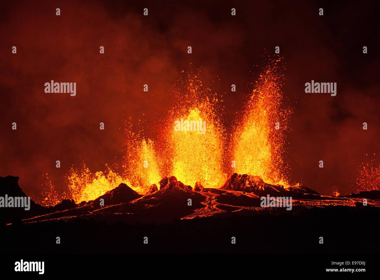 lava fountains at Holuhraun night time - Stock Image
