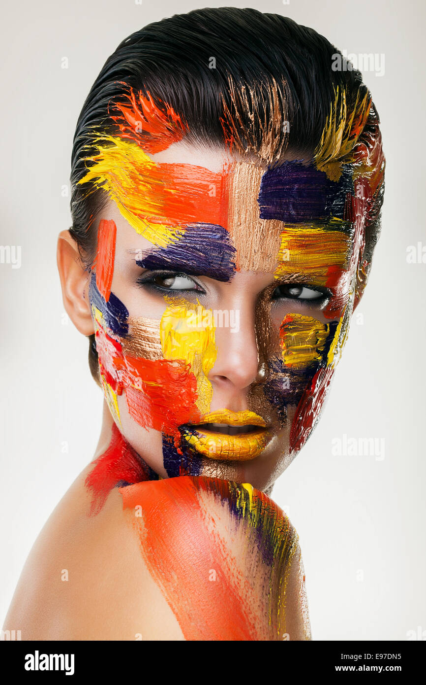 woman face with bodyart - Stock Image