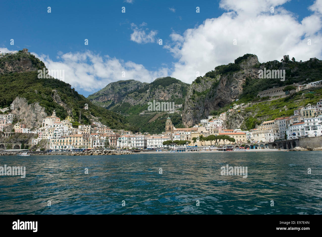 The town of Atrani near Amalfi seen from a boat on the Bay of Salerno, Province of Salerno,  Campania, Italy May - Stock Image