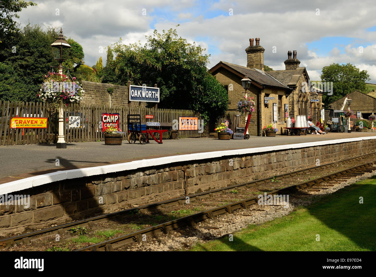 Oakworth station on the Keighley & Worth Valley Railway. It featured prominently in the 1970 film 'The Railway - Stock Image