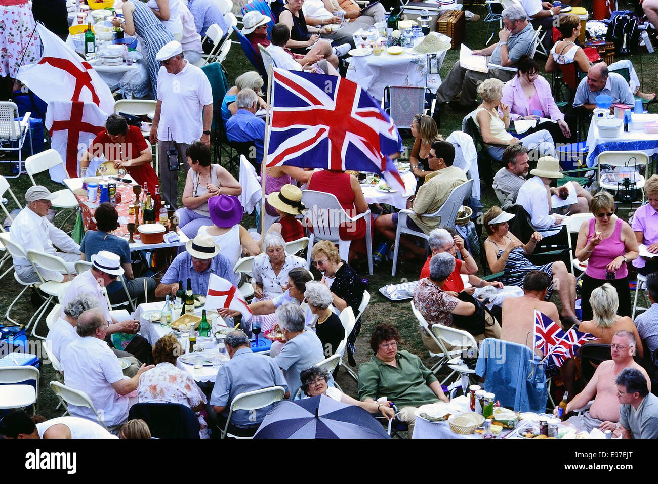 A large group of British people picnicking. Rochester. Kent - Stock Image