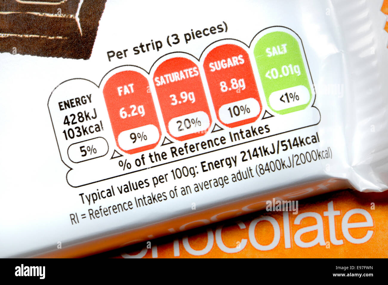 Chocolate packaging showing nutritional information - Stock Image