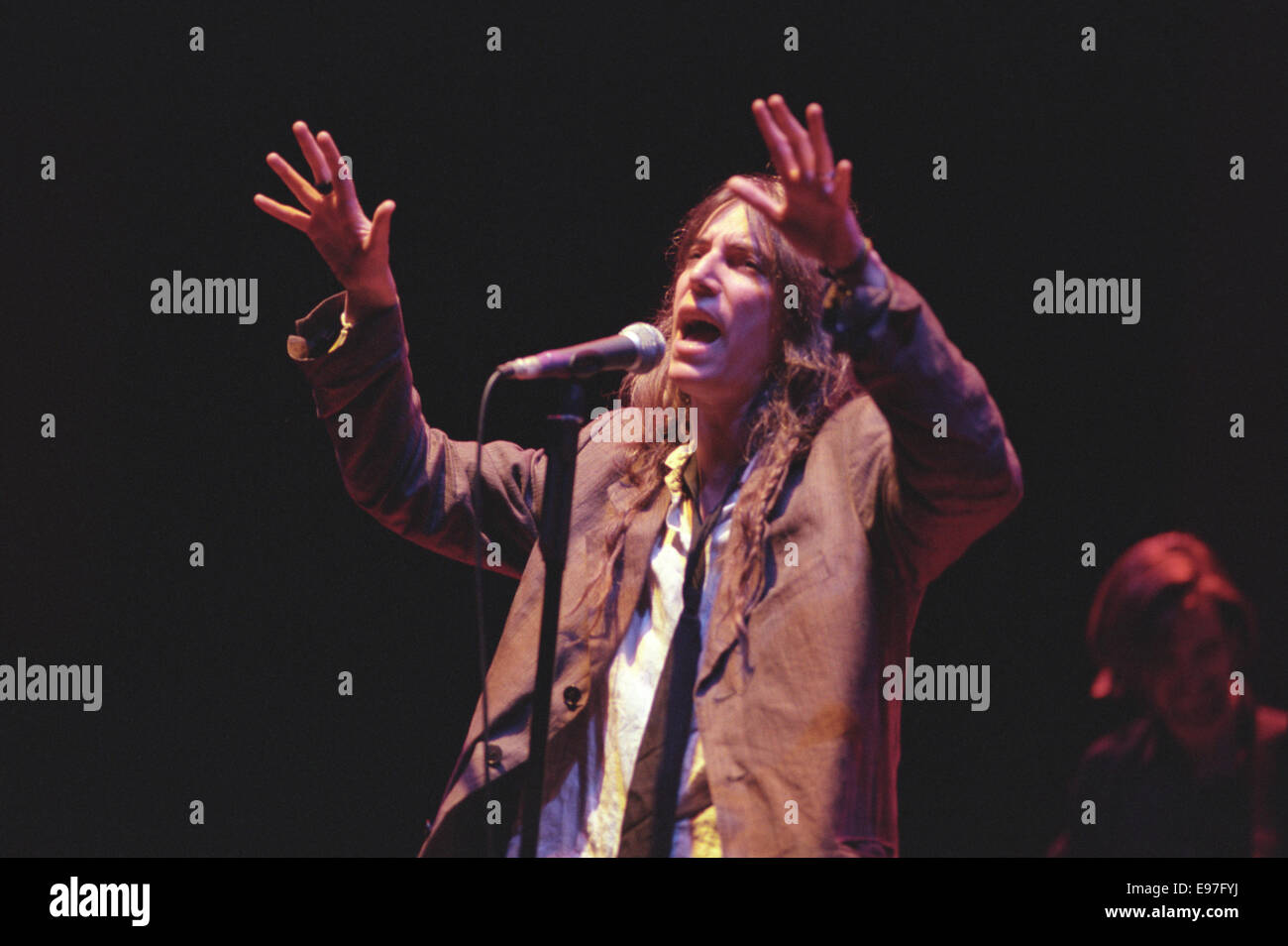 American poet singer Patti Smith in concert at Glasgow Royal Concert Hall, in Glasgow, Scotland, in 1996. Stock Photo