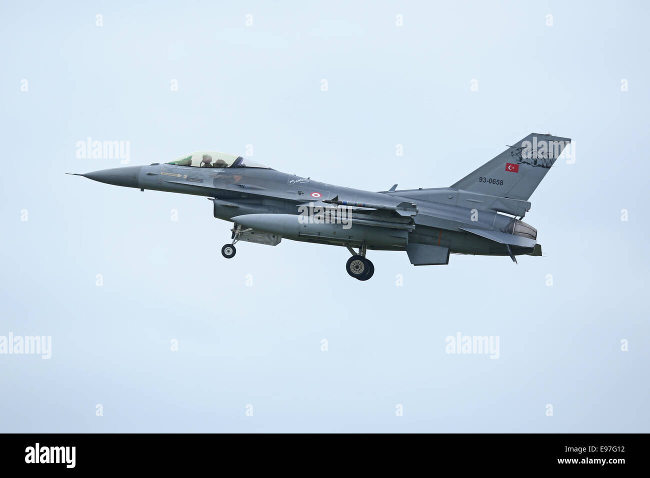Turkish Air Force F-16C comes into land at Schleswig/Jagel, Germany during Tiger Meet 2014 - Stock Image