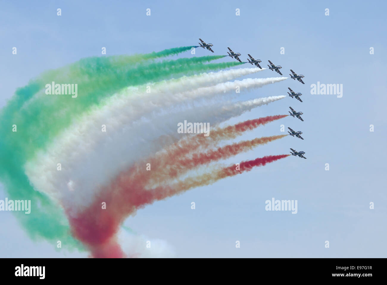 Frecce Tricolori Italian Air Force aerobatic team display at Royal International Air Tattoo 2014 Stock Photo