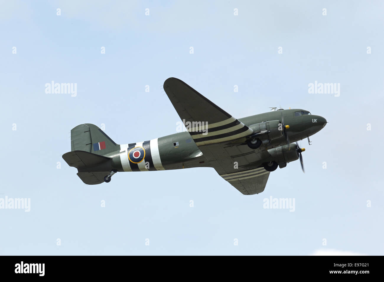 Douglas Dakota C3 displays during Royal International Air Tattoo 2014 - Stock Image