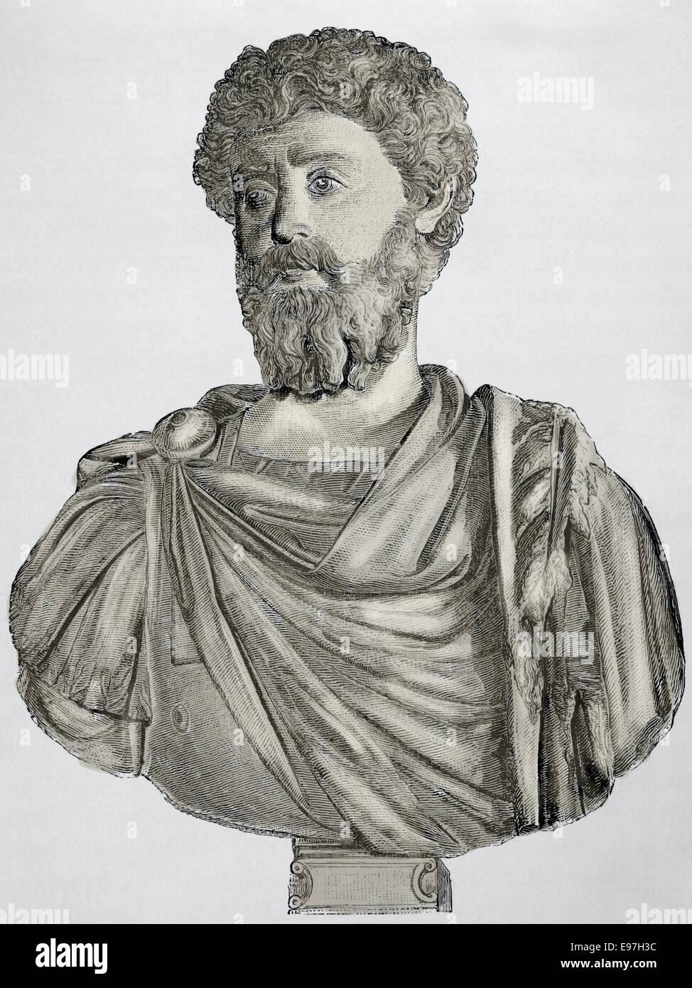 Marcus Aurelius (121-180 AD). Roman Emperor from 161-180. Engraving. Historia Universal, 1881. - Stock Image