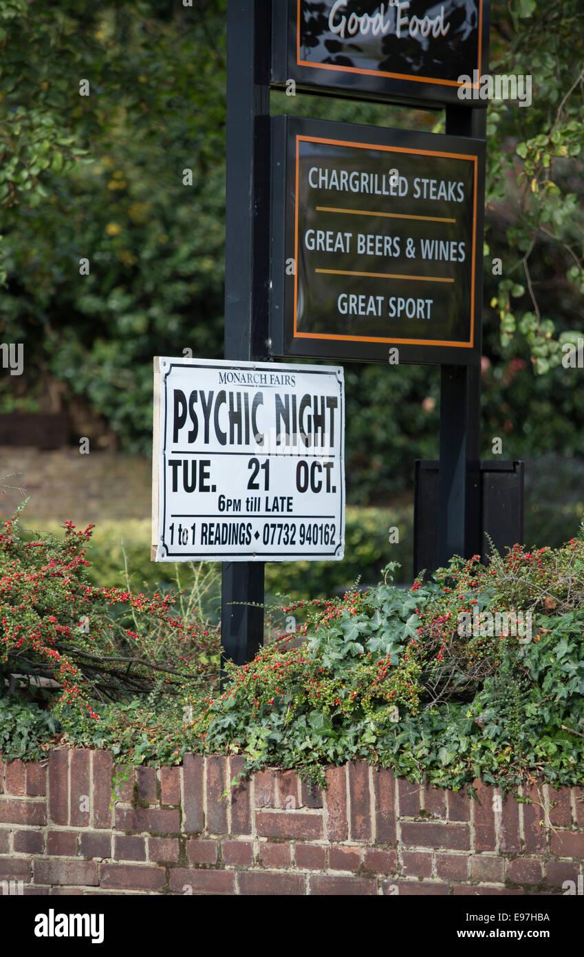 Psychic Night held in pub advert poster dead speak Stock Photo