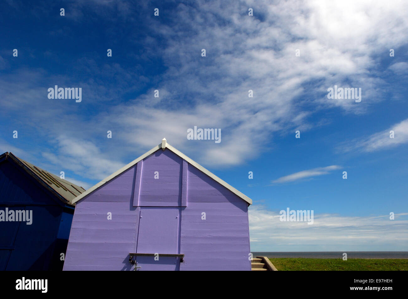 Wooden beach hut. Lincolnshire. England - Stock Image