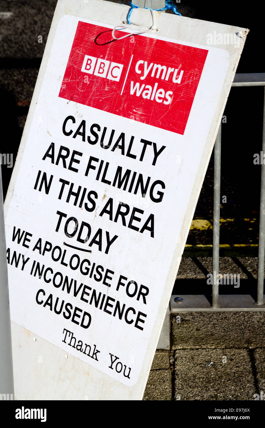BBC Wales warning notice of filming of Casualty programme in Cardiff, Wales, UK. Stock Photo
