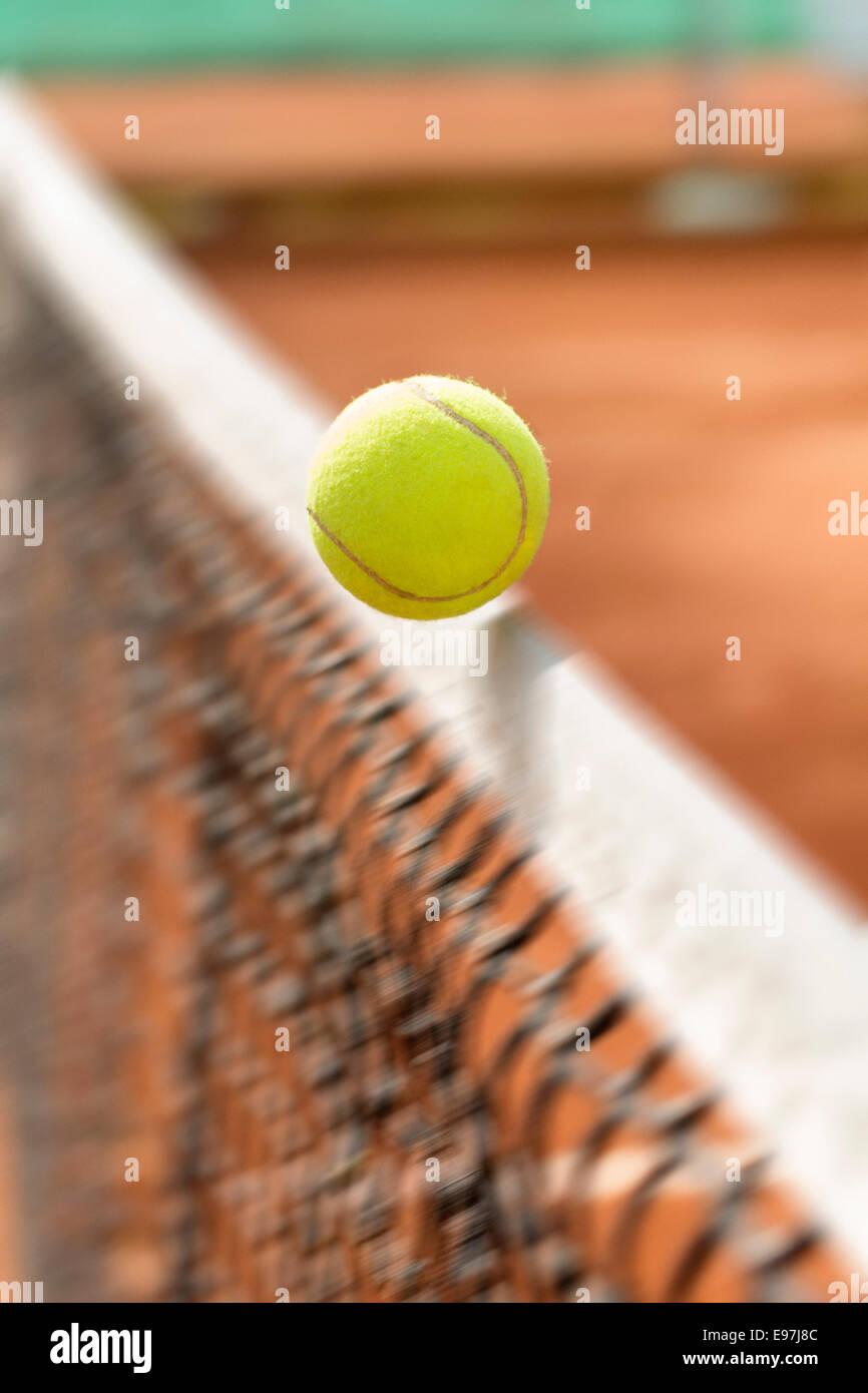 DEU, Germany, Baden-Württemberg, 23.09.2014, detail tennisball net-cord shot © 2014 Christoph Hermann - Stock Image
