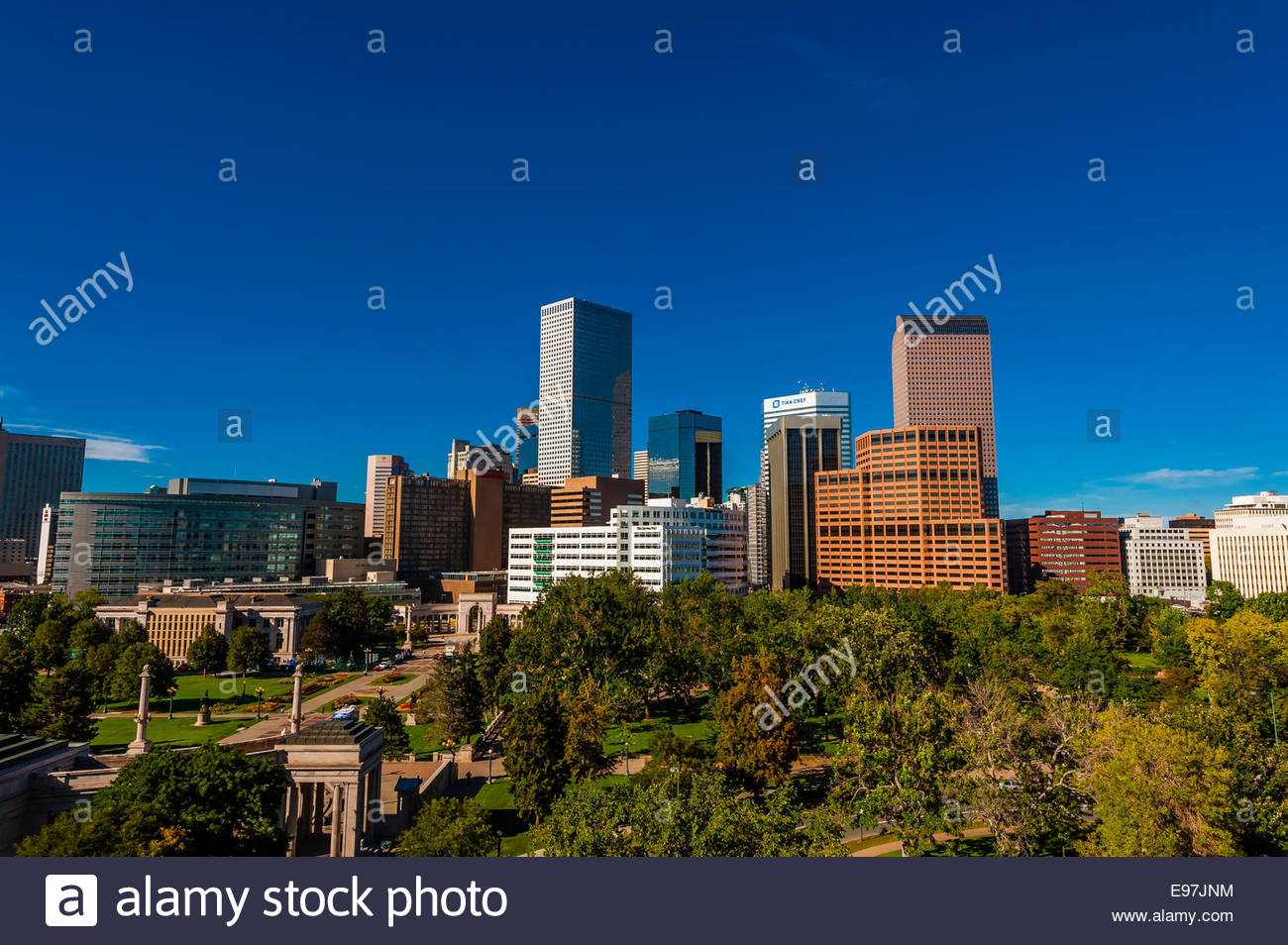 Downtown Denver skyline with Civic Center Park in foreground, Denver, Colorado USA. - Stock Image