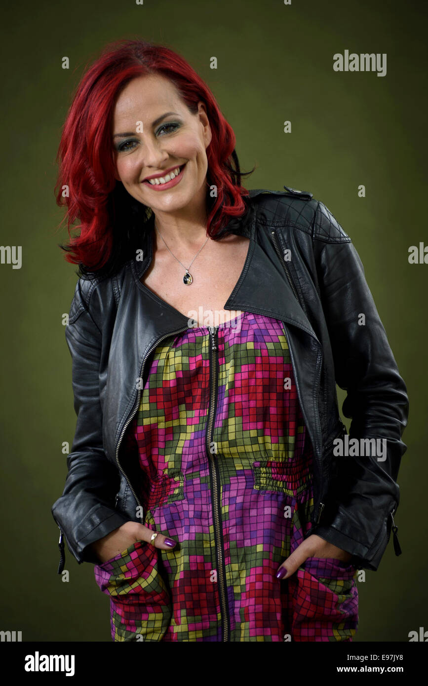 Vocal Coach, judge and TV presenter Carrie Grant appears at the Edinburgh International Book Festival. - Stock Image