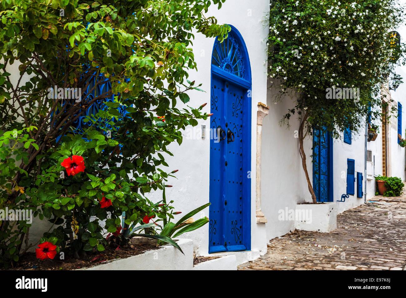 Narrow cobbled street in Sidi Bou Said, Tunisia. Stock Photo