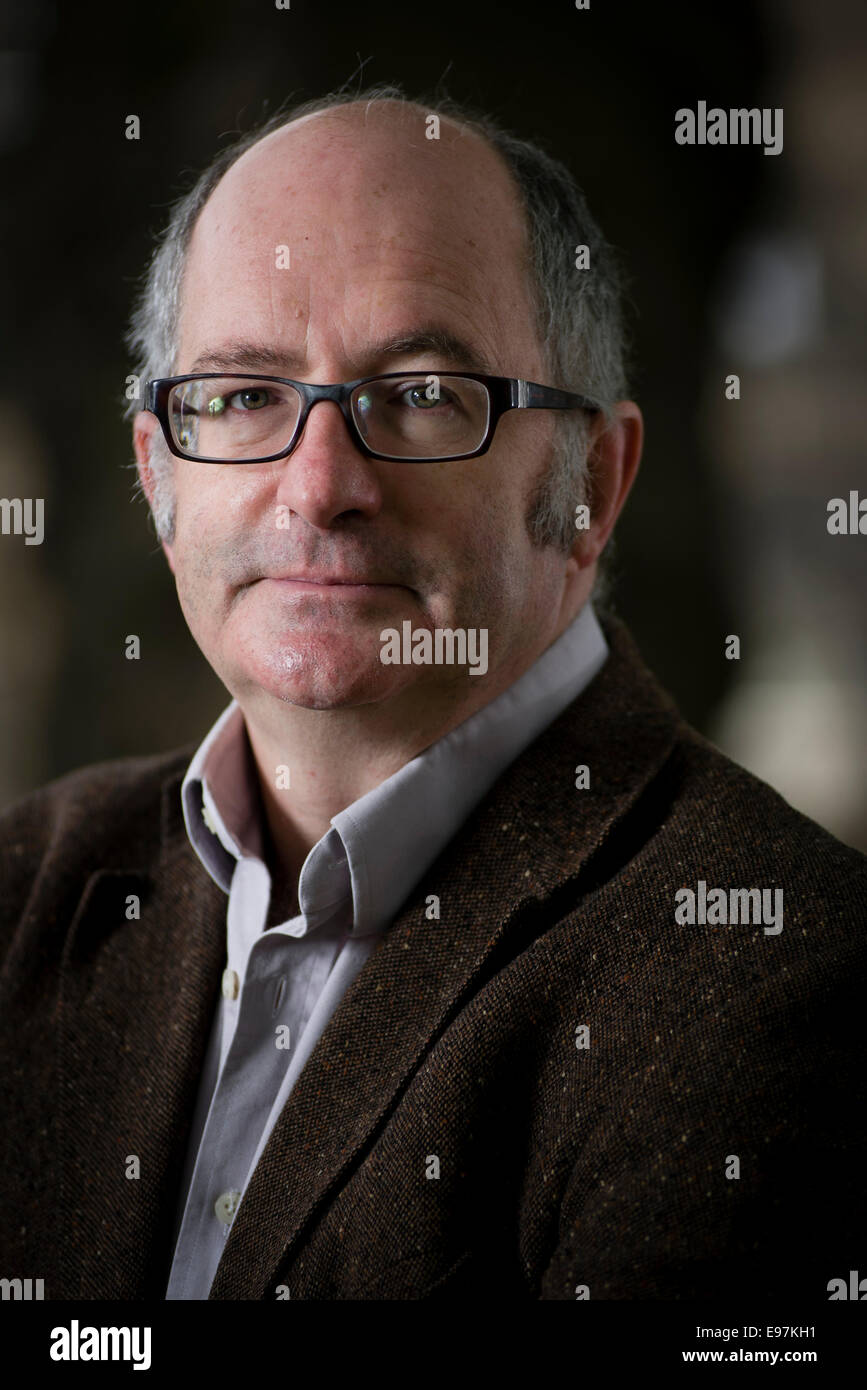 British journalist and novelist John Lanchester appears at the Edinburgh International Book Festival. - Stock Image
