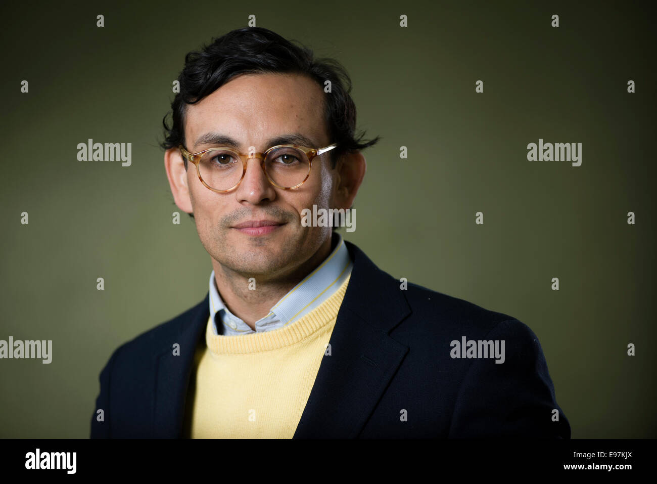British writer Simon Van Booy appears at the Edinburgh International Book Festival. - Stock Image