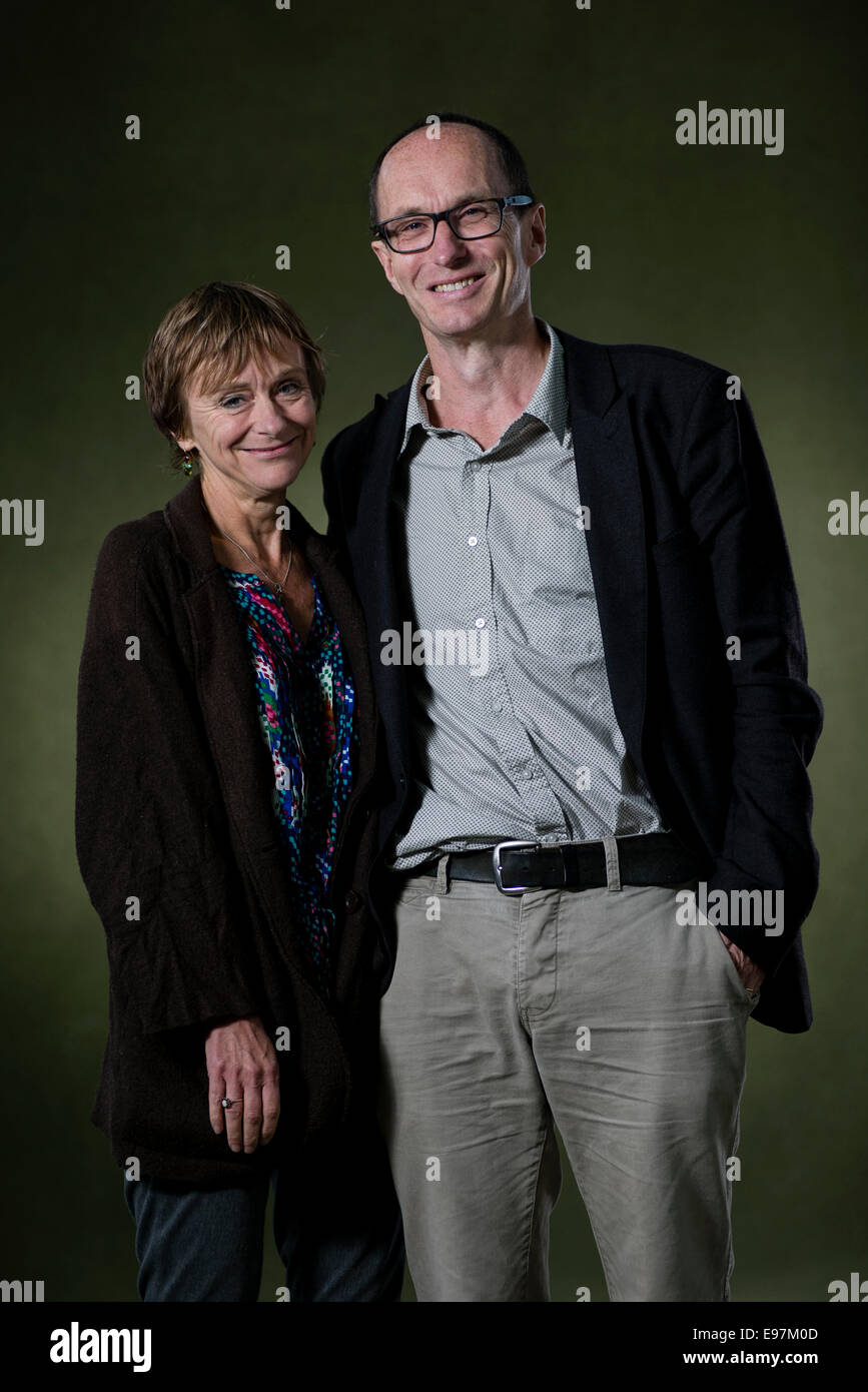 Nicci Gerrard and Sean French, who write thrillers together under the pseudonym of Nicci French at the Edinburg - Stock Image