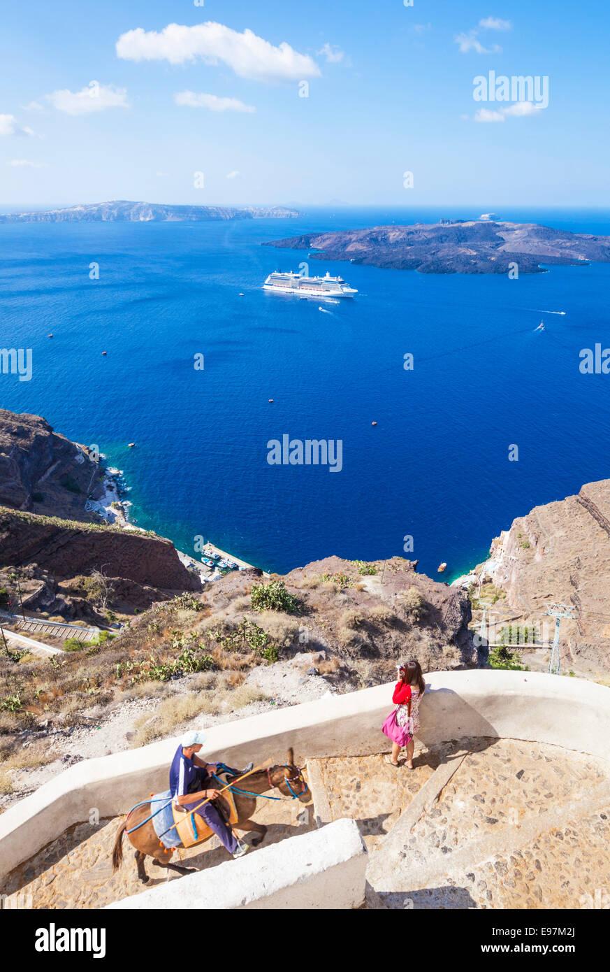 Donkey, Caldera and Cruise ship, Fira, Santorini, Thira, Cyclades islands, Aegean Sea, Greece, EU, Europe - Stock Image