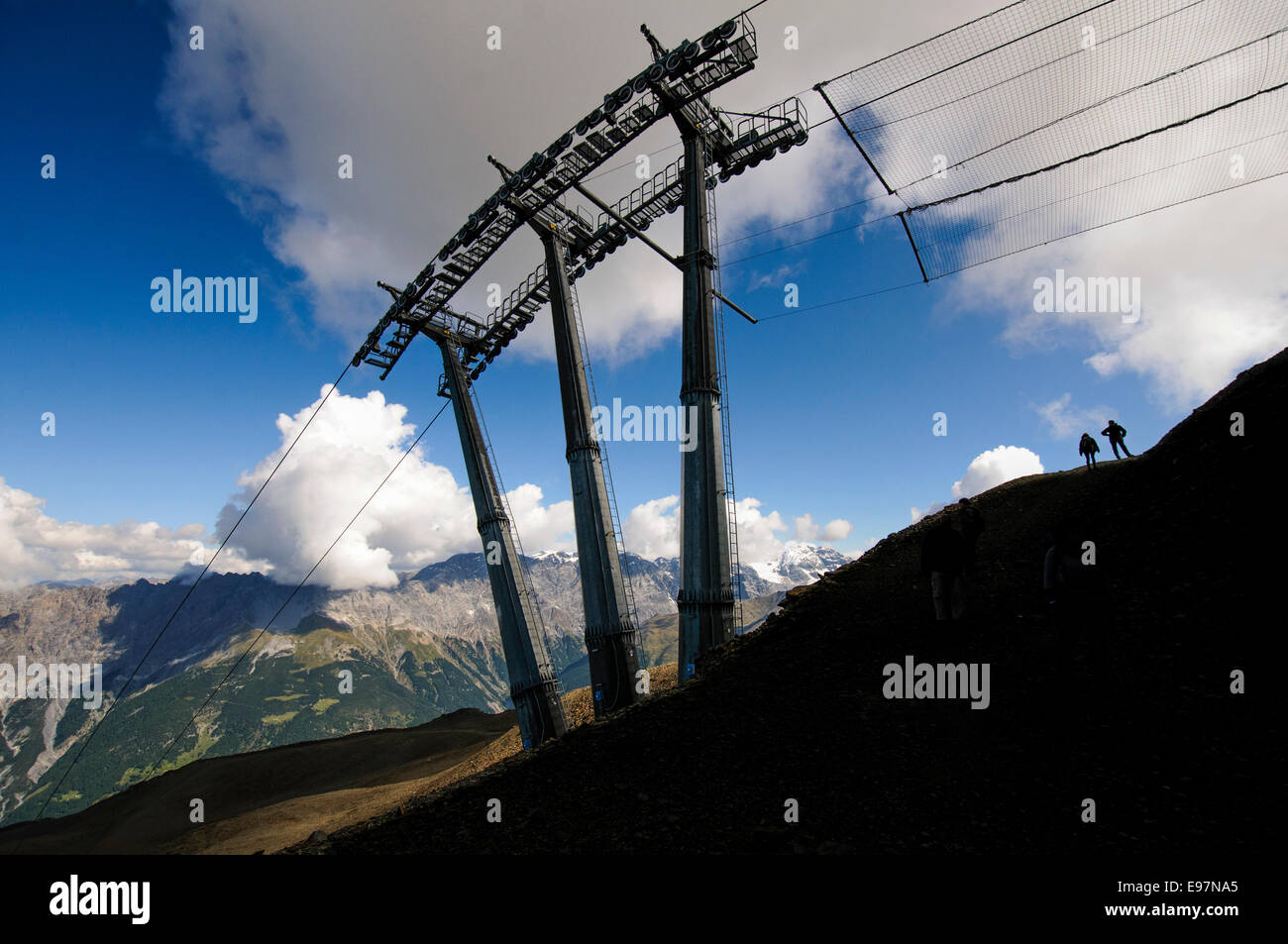 Ski lift cable car in Bormio, Lombardy region of the Alps in northern Italy Stock Photo
