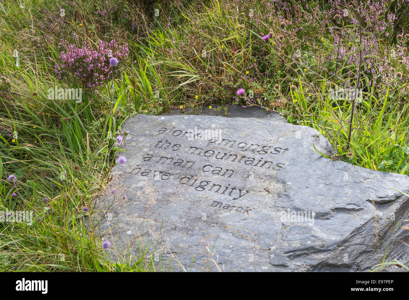 Quote on stone on Ballachulish hill near Glencoe in Scotland. - Stock Image