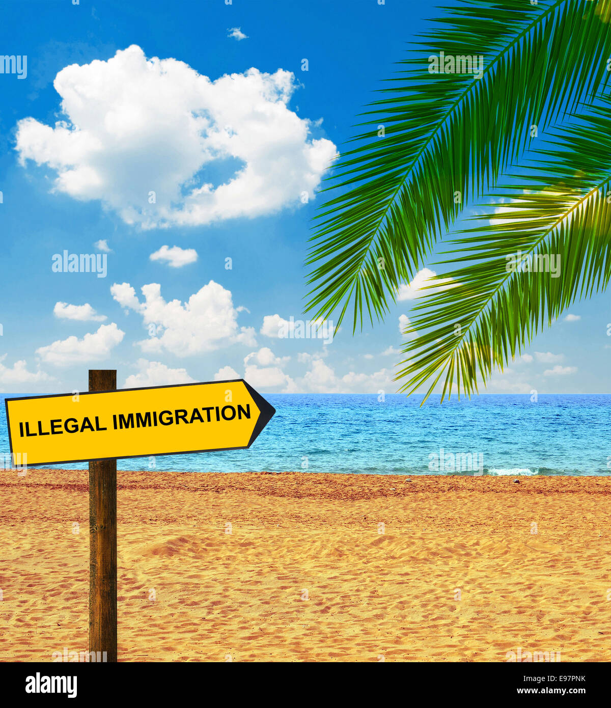 Tropical beach and direction board saying ILLEGAL IMMIGRATION - Stock Image
